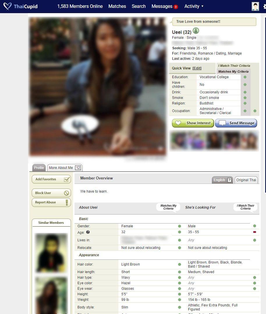 Member Profile on Thai Cupid