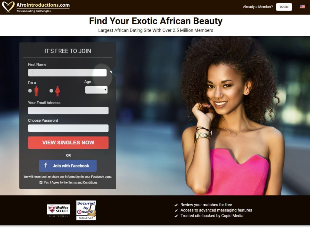 AfroIntroductions Homepage Screenshot