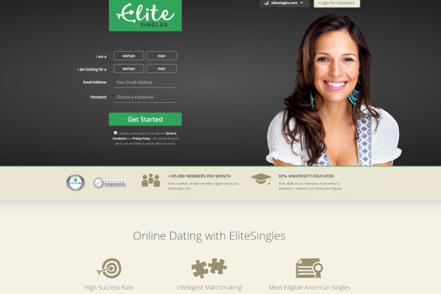 homepage screenshot of Elite Singles dating app