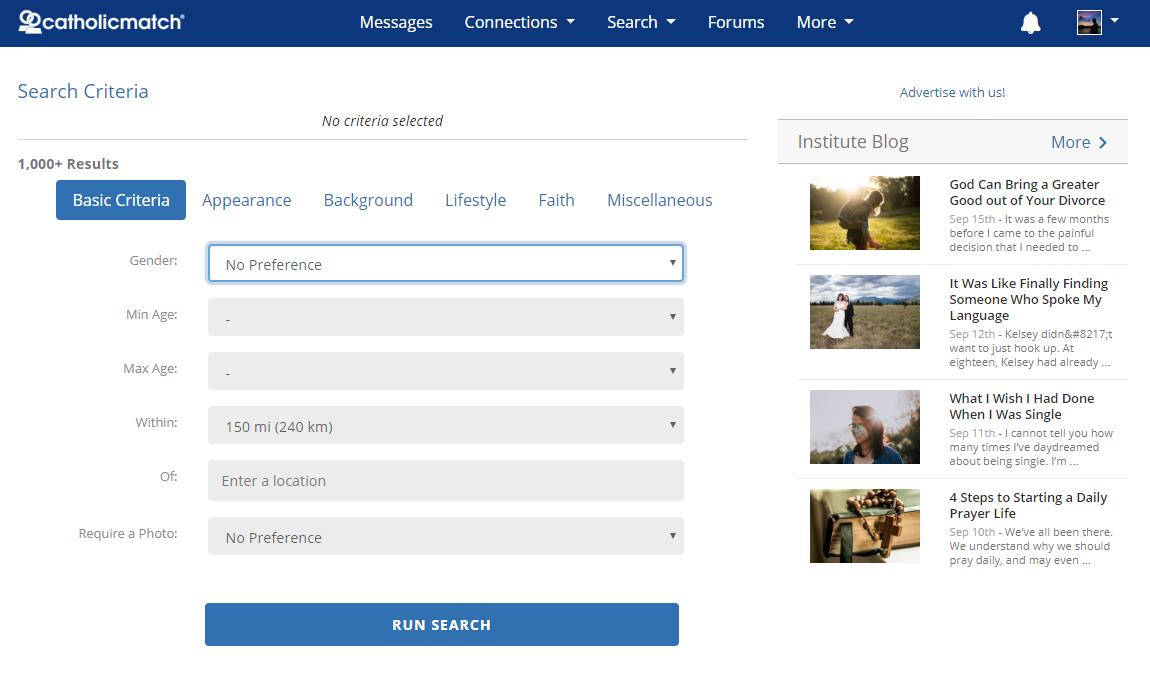 Catholic Match search function