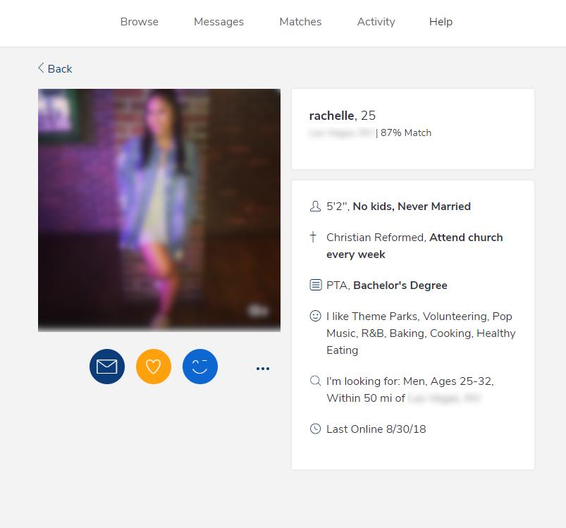 Christian Mingle Profile screenshot