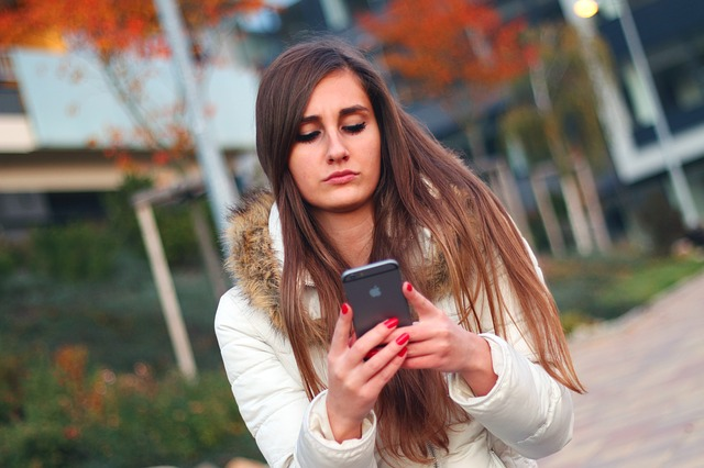 Girl texting and dating