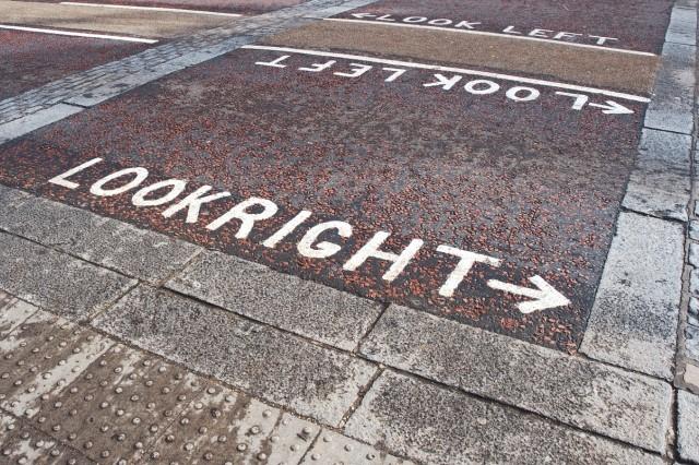 political chalked sidewalk