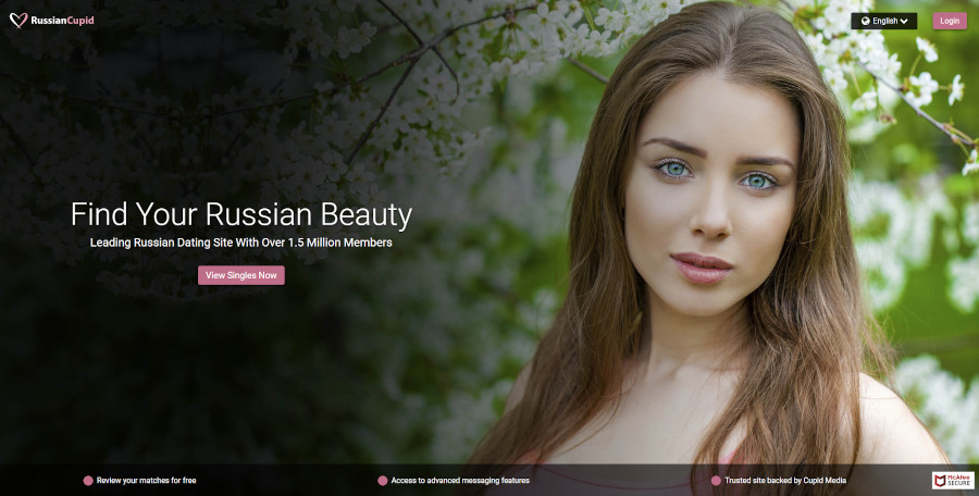 RussianCupid dating site homepage