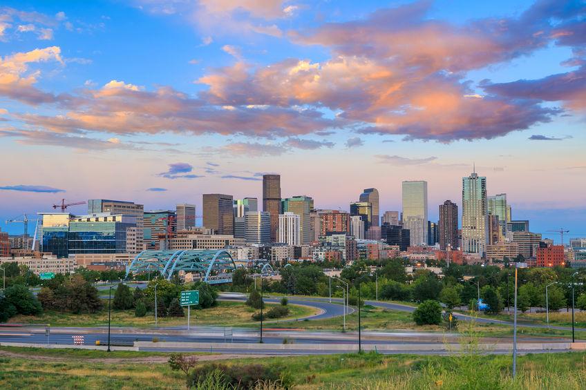 Downtown Denver at sundown