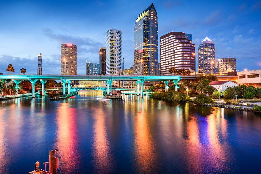 Tampa Florida downtown at night