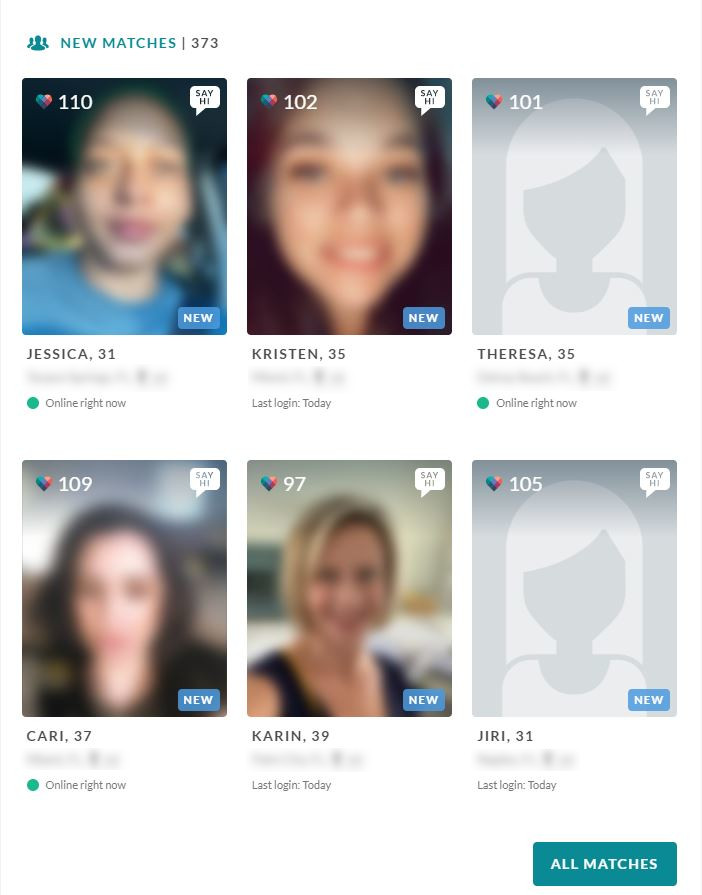 Screenshot of the blurred pictures on eHarmony