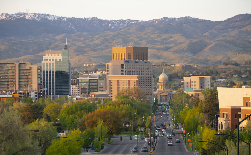 Downtown city center of Boise Idaho framed by Schafer Butte