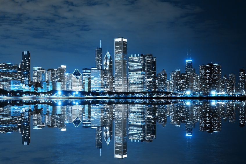 Downtown Chicago skyline at nights