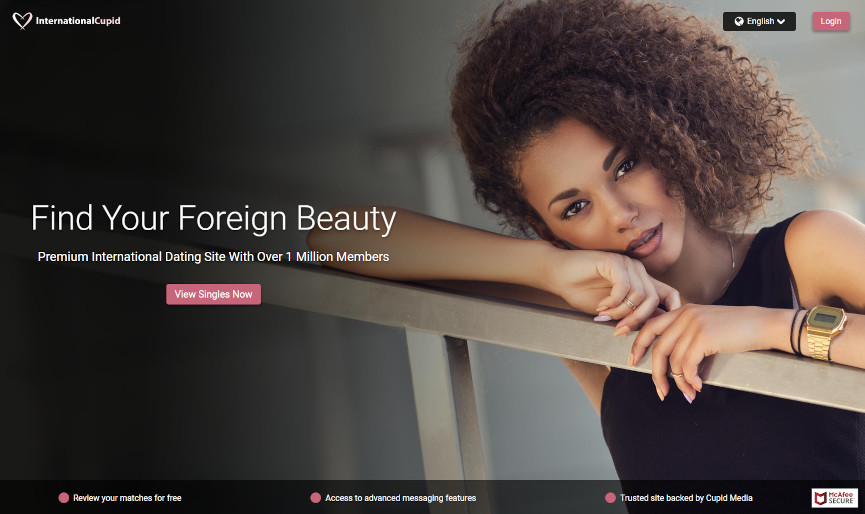 Screenshot of International Cupid dating app homepage