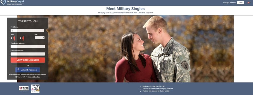 A screenshot of the Military Cupid dating site homepage