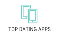 Icon of cell phone and the words top dating apps