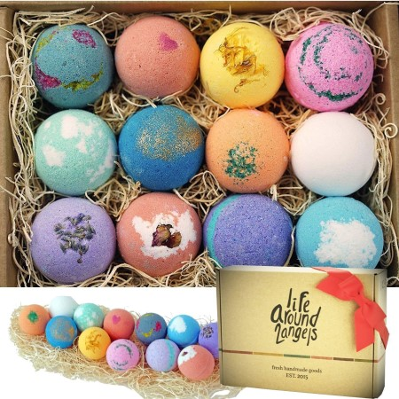 A dozen colorful bath bombs in a gift set