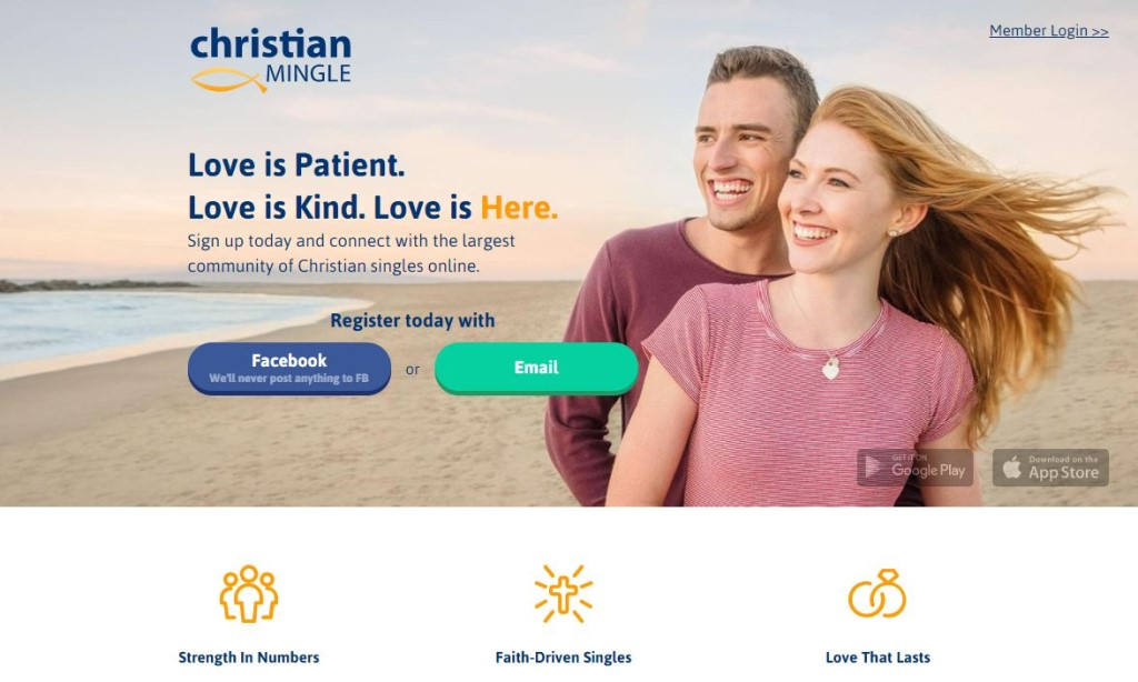 Christian Mingle App homepage