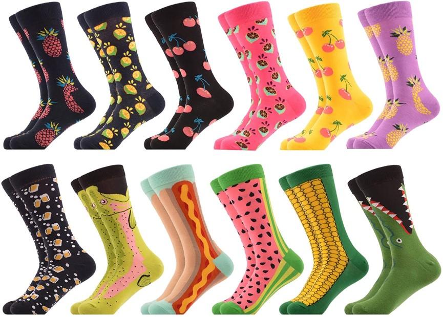 Six pairs of men's novelty socks