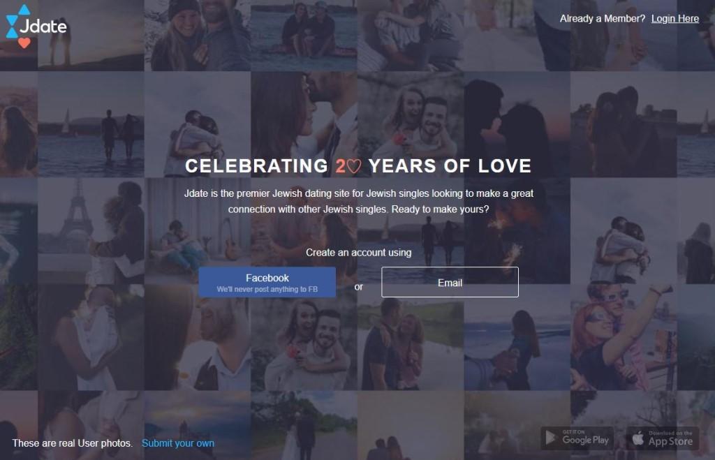 Screenshot of Jdate dating app homepage