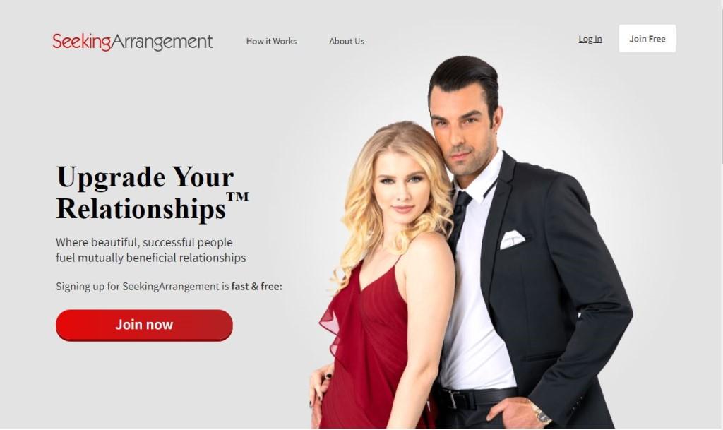 Screenshot of Seeking Arrangement app homepage