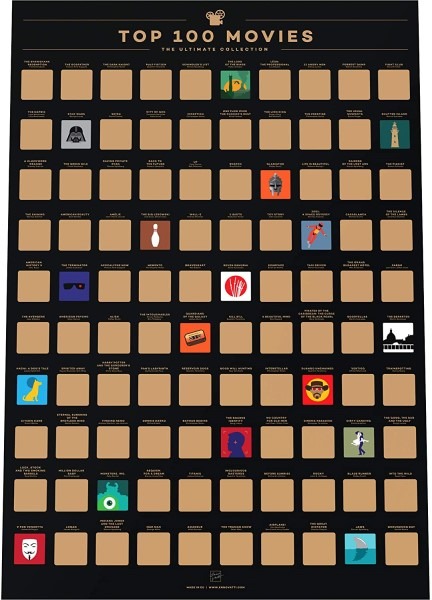 Top 100 Films of All Time - Scratch Off Movie Poster