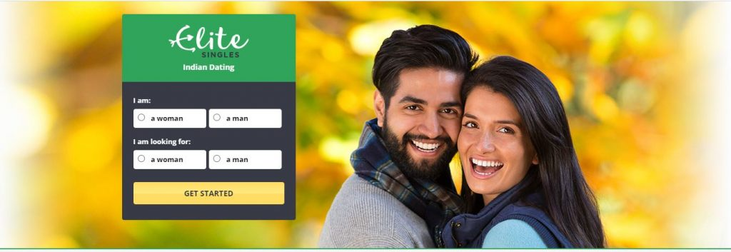 Screenshot of Elite Singles dating app with Indian couple