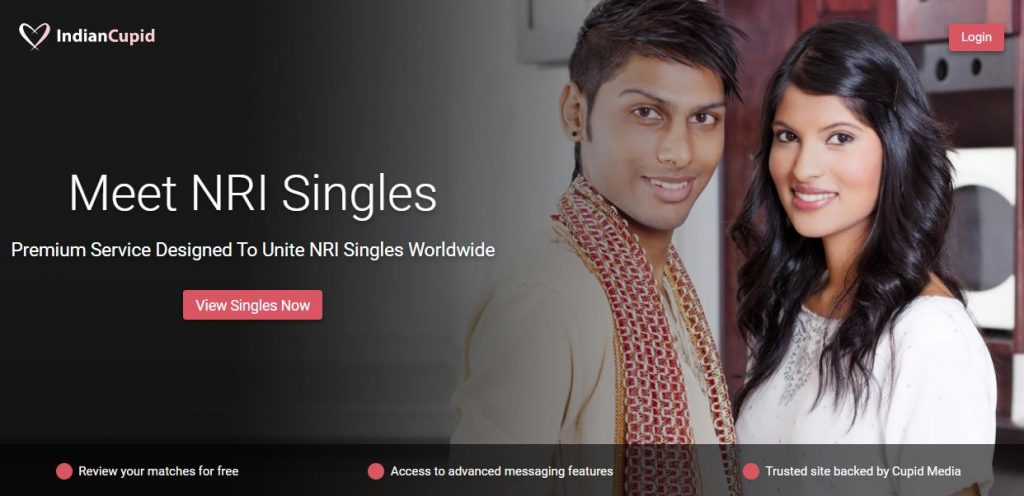 Indian Cupid dating site screenshot