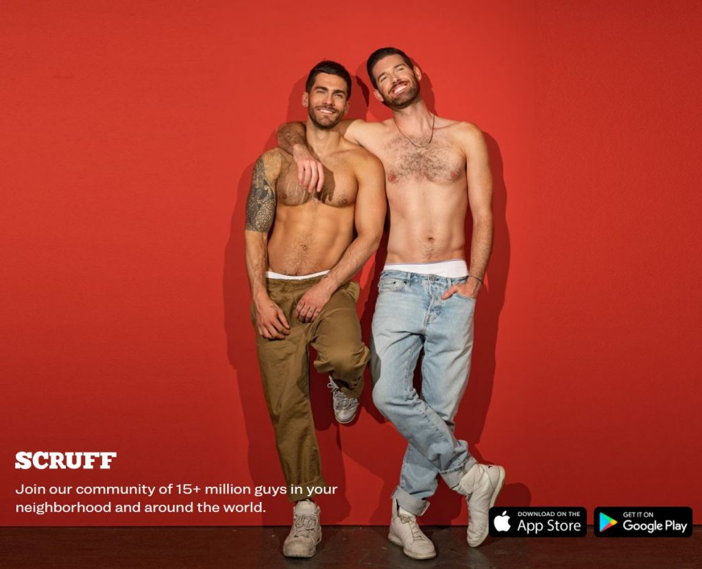 screenshot of Scruff dating app with two men embracing