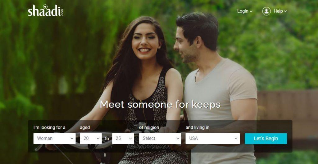 Shaadi dating app homepage