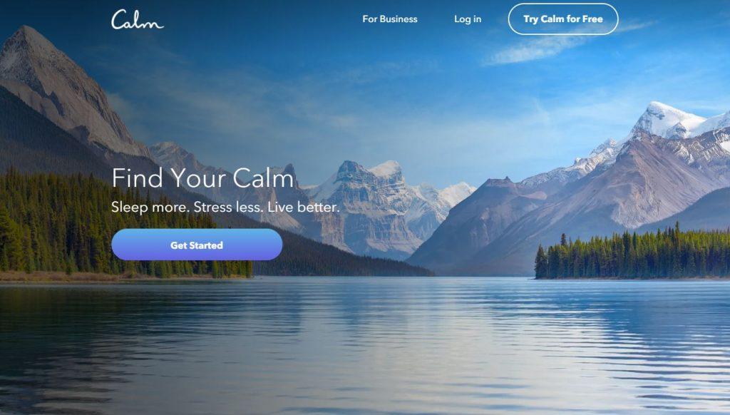 Calm App homepage