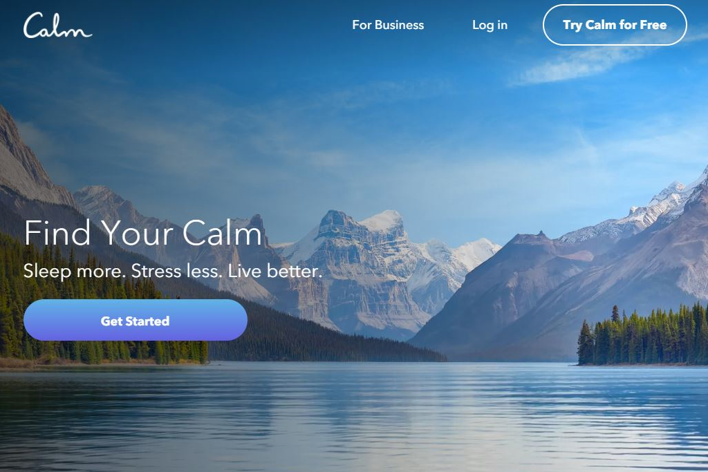 The Calm App homepage