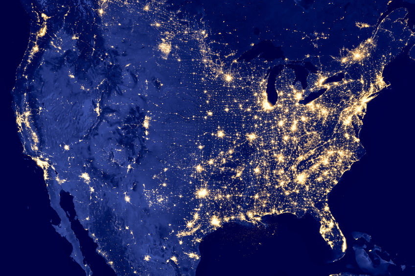 NASA picture of America at night