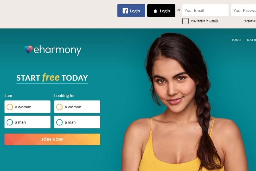 eHarmony homepage with girl