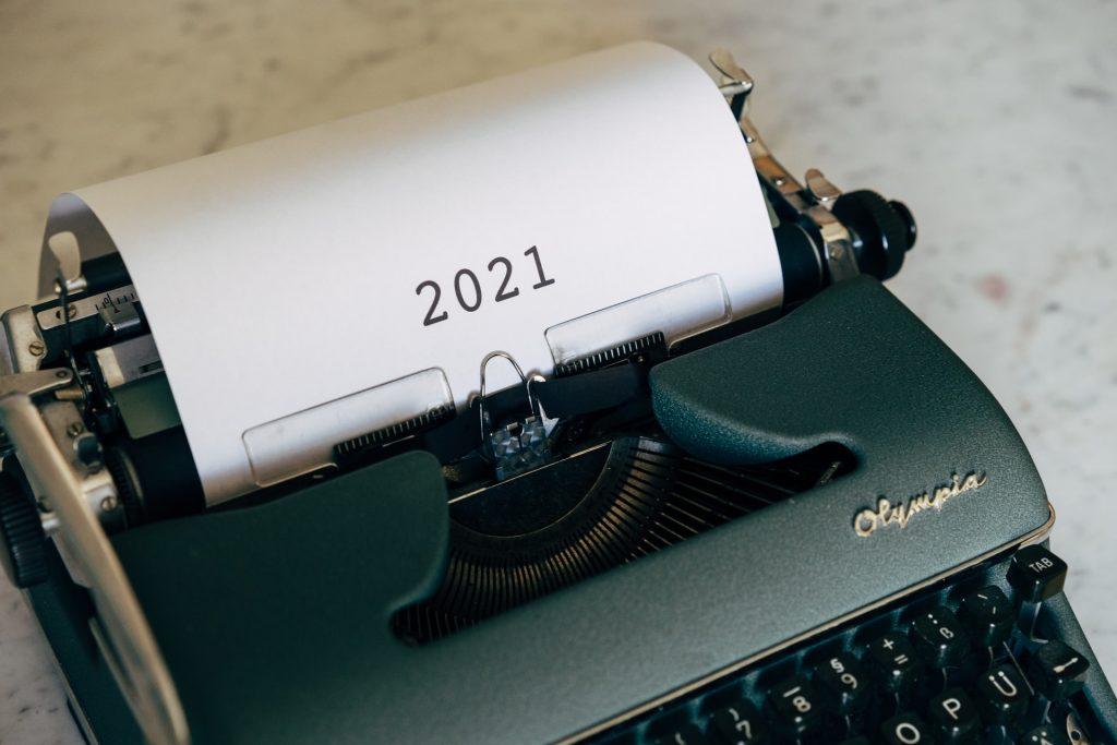 2021 on a typewriter