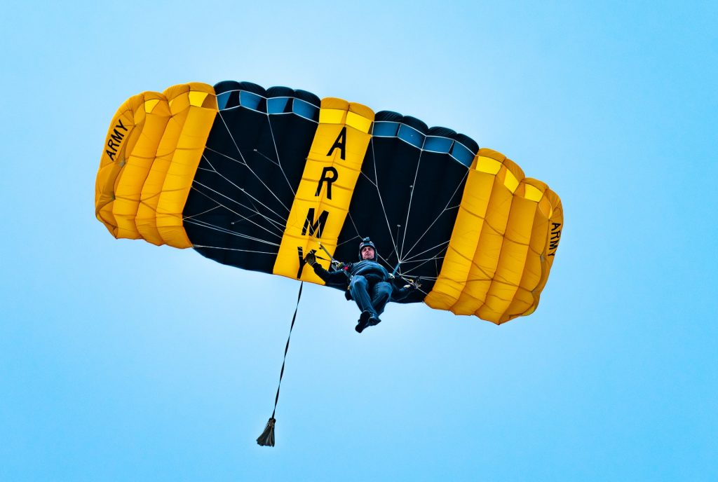 Army Parachute jumper in the sky