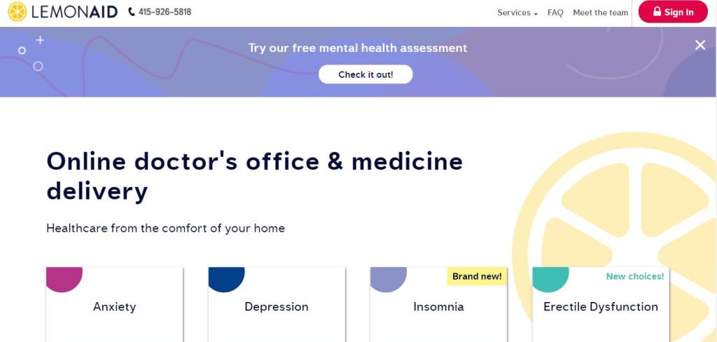 Lemonaid Health Homepage