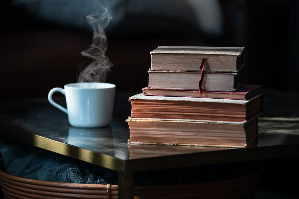 Library Books and Coffee