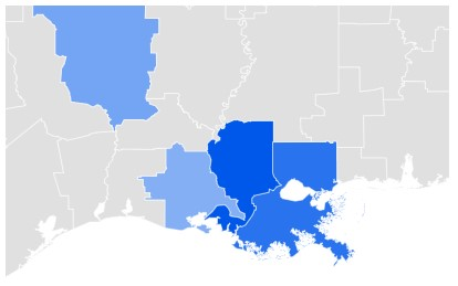 Louisiana Singles Search Data Trend Map