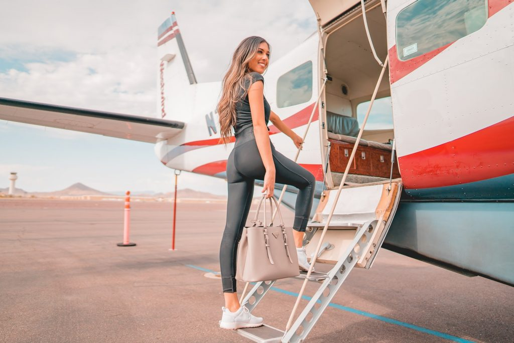 girl getting on a plane