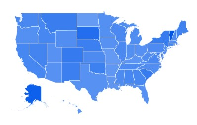 Google Trends Heat Map Data for Online Dating Searches in the United States