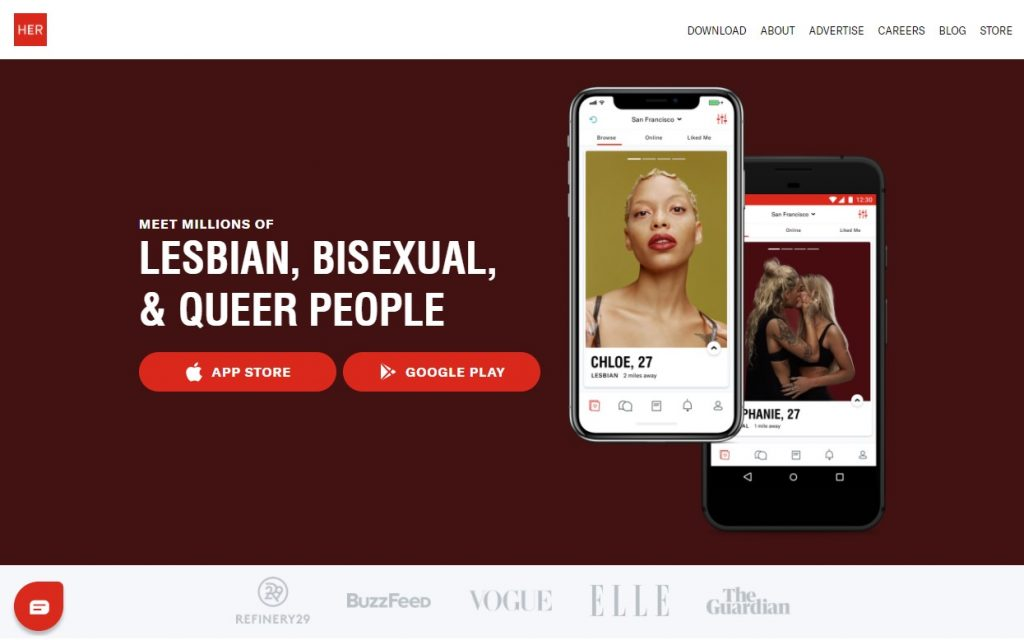HER Dating App Homepage