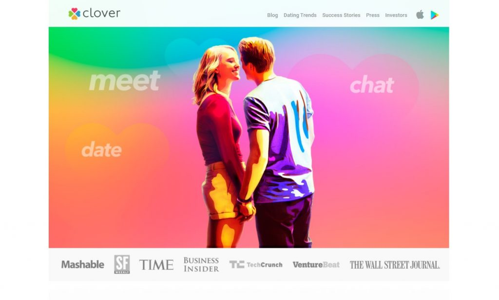 Clover Dating App Homepage