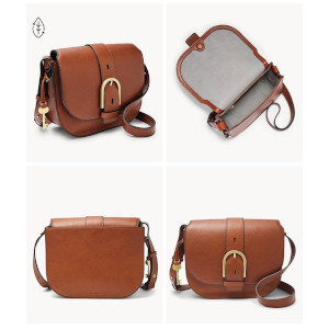 Image containing multiple angled shots of a woman's brown leather handbag made in the saddle style design.