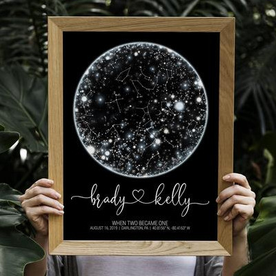 Image of person holding up a wooden framed picture of a Star Map. The map of stars has been personalized with the first names of a couple along with the date and location of their wedding day.