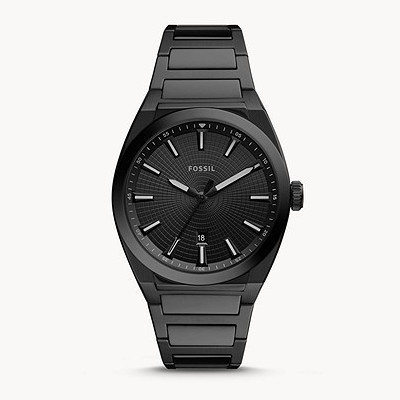 Image of an all black men's analog watch made by the company Fossil