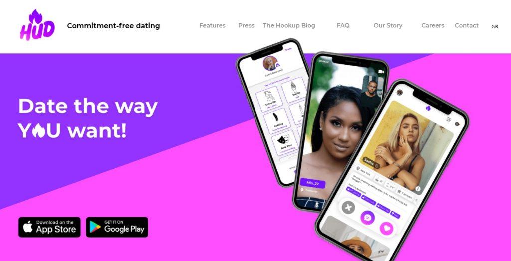 HUD dating app homepage