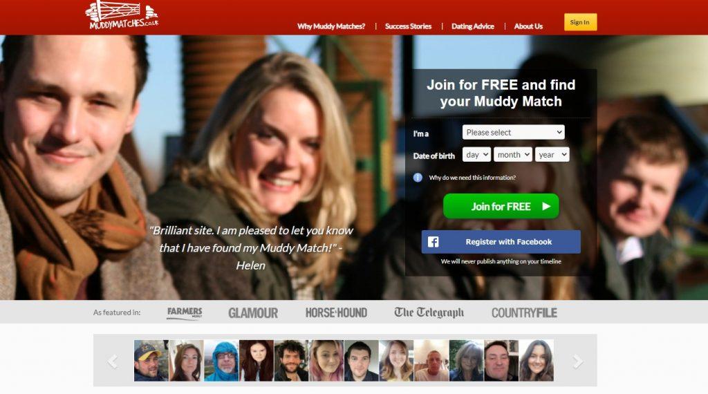 Muddy Matches homepage screenshot