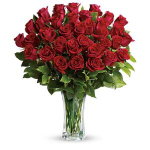 3 Dozen Long Stem Red Roses in a Clear Glass Vase
