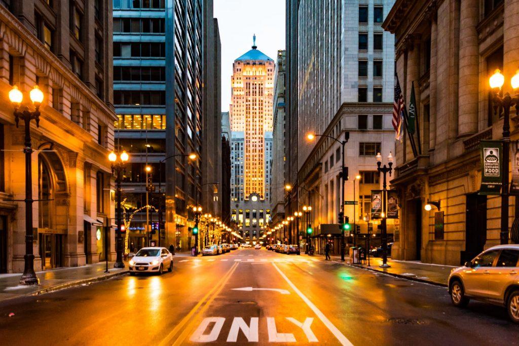 Chicago Illinois streets at dusk