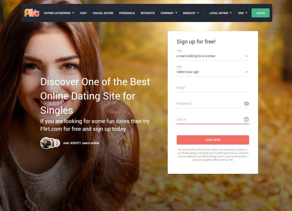 Flirt.com Homepage of Website