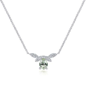 White Gold and Green Garnet Necklace by Gabriel & Co