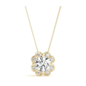 Floral Halo Diamond Pendant with Yellow Gold