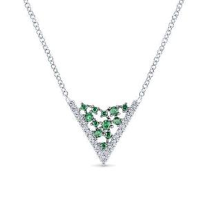 Hexagonal Diamond and Emerald Pendant